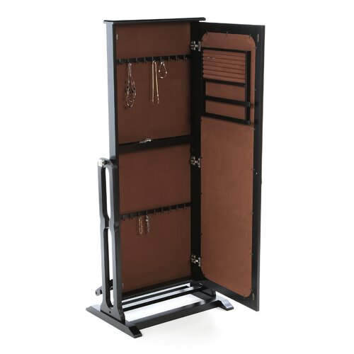 Powell Furniture Antique Black Cheval Jewelry Armoire with Mirror