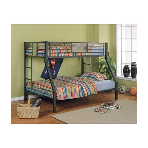 Powell Furniture Monster Bedroom Twin over Full Bunk Bed with Built-In Ladder