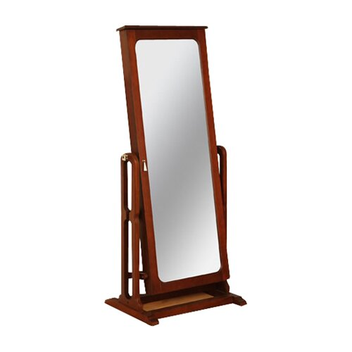 Powell marquis cherry cheval jewelry armoire with mirror for Long stand up mirror