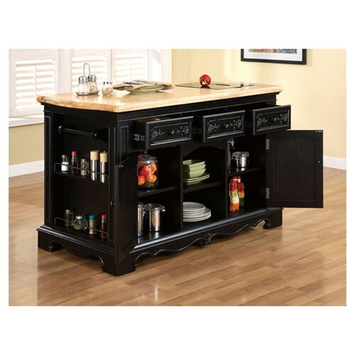powell pennfield kitchen island with granite top amp reviews powell medium oak 3 drawer kitchen butler traditional