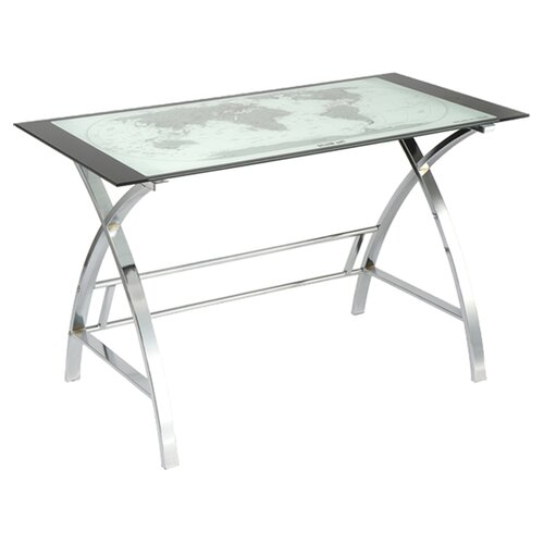Powell Furniture World Map Printing Curved X-Sided Computer Desk