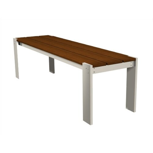 Modern Outdoor Luma Aluminum and Wood Bench