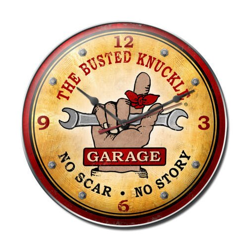 "Almost There 14"" Busted Knuckle Garage Wall Clock"