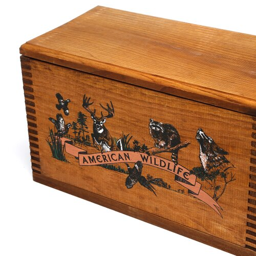 "Evans Sports Wooden Accessory Box With ""Wildlife Series"" Collage Print"