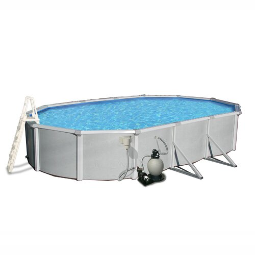Swim Time Samoan 12-ft x 24-ft Oval 52-in Deep 8-in Top Rail Metal Wall Swimming Pool Package