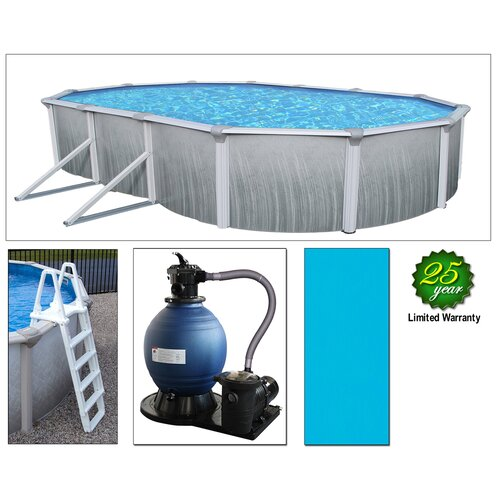"""Swim Time Round 52"""" Deep 7"""" Top Rail Martinique Metal Wall Swimming Pool Package"""