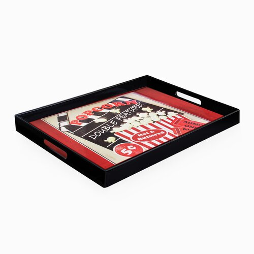 Accents by Jay Popcorn Double Feature Rectangle Tray with Handles
