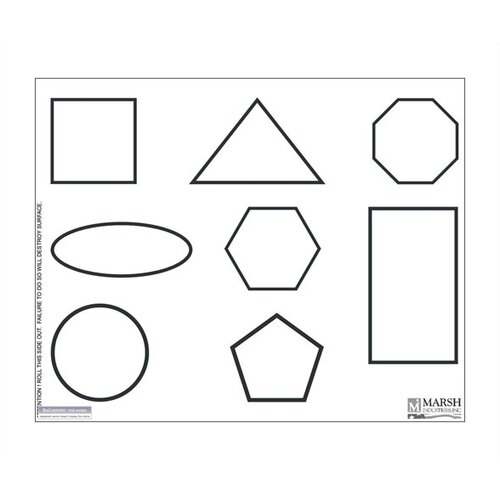 Marsh Magnetic Dry-Erase Teaching Aides Mat - Shapes Graphic