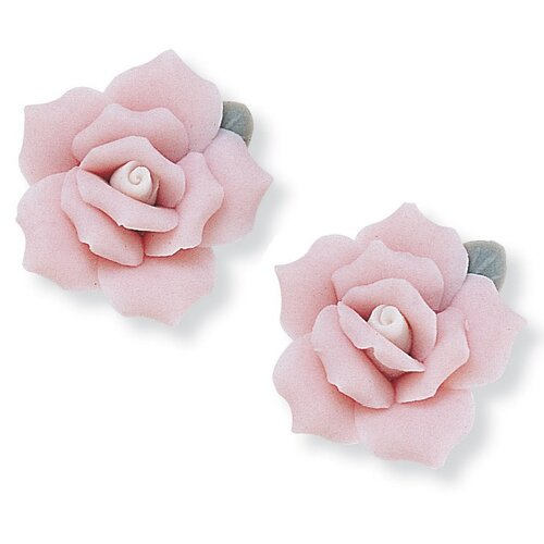 Goldtone Ceramic Flower Earrings