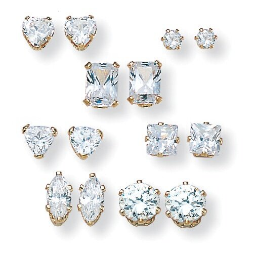 18k Gold/Silver 7 Pairs of Cubic Zirconia Earring Set