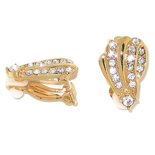 Palm Beach Jewelry Goldtone Crystal Clip-On Earrings