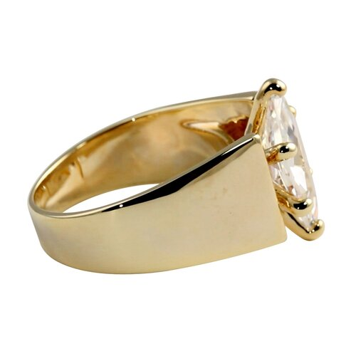 Palm Beach Jewelry Gold Plated Marquise Solitaire Cubic Zirconia Ring