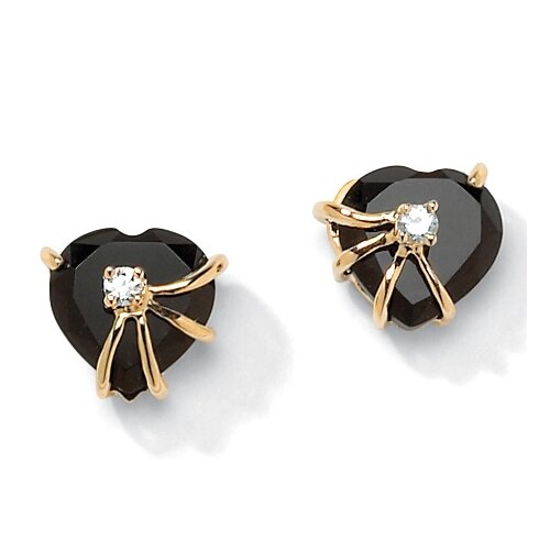 Palm Beach Jewelry Gold Plated Onyx Heart Earrings
