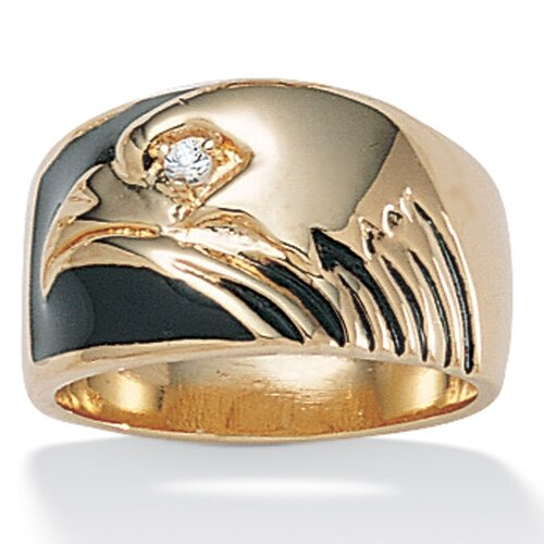 Gold Plated Men's Cubic Zirconia Eagle Ring
