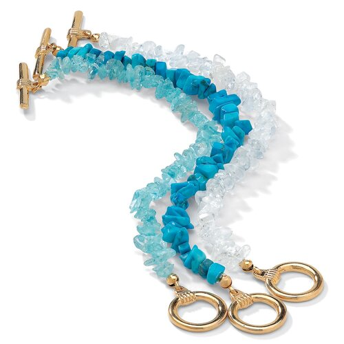 Gold Plated 3 Piece Genuine Multi Gem Bracelet