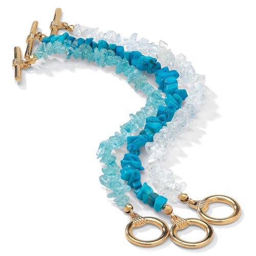 Palm Beach Jewelry Gold Plated 3 Piece Genuine Multi Gem Bracelet
