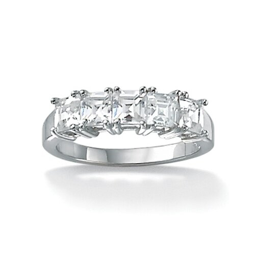 Palm Beach Jewelry Platinum/Silver Princess-Cut Cubic Zirconia Ring
