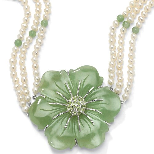 Palm Beach Jewelry Sterling Silver Jade/Peridot/Cultured Pearl Necklace