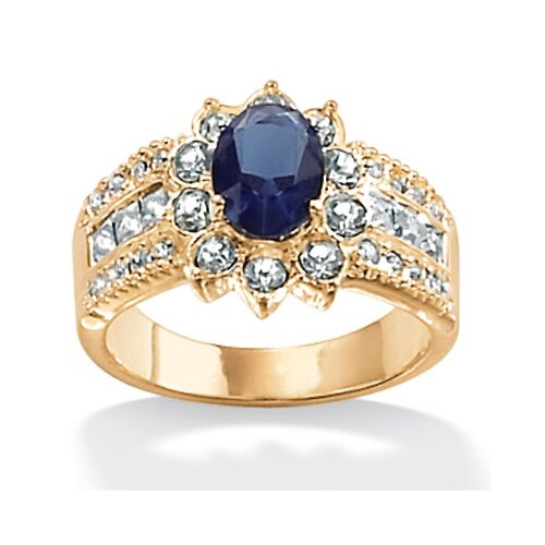 Gold Plated Simulated Sapphire Classic Ring