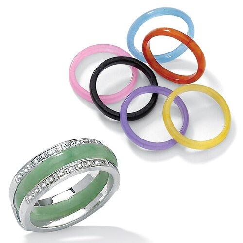 Sterling Silver 8 Piece Jade Ring Set