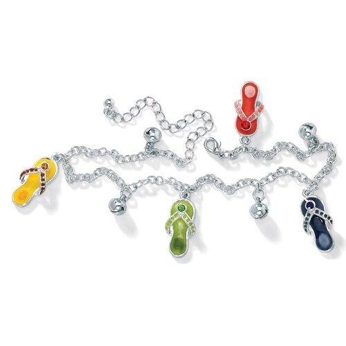 Silvertone Flip-Flop Ankle Bracelet