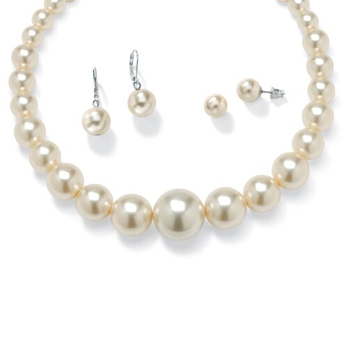 Silvertone 2 Piece Simulated Cultured Pearl Jewelry Set