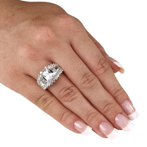 Palm Beach Jewelry Platinum/Silver Cubic Zirconia White WoMen's Ring
