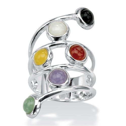 Sterling Silver Multi-Colored Jade Ring