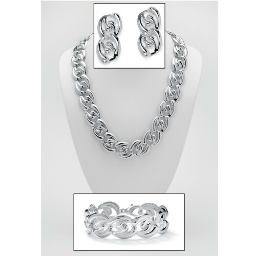 Palm Beach Jewelry Silvertone 3 Piece Curb-Link Jewelry Set