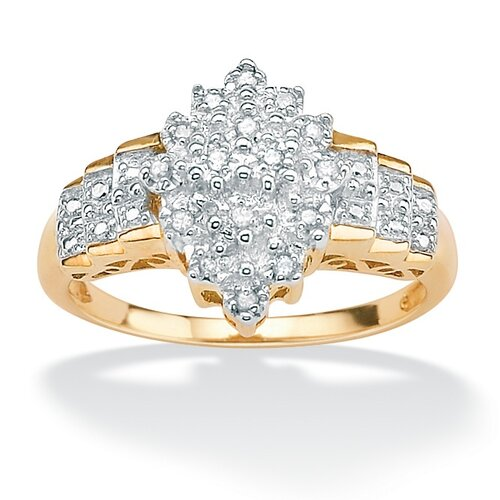 18k Gold/Silver Diamond Cut-out Step Ring