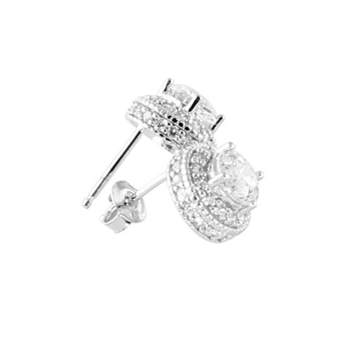 Palm Beach Jewelry Platinum/Silver Diamond Ultra Cubic Zirconia Earrings