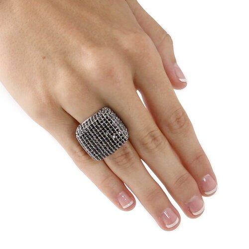 Palm Beach Jewelry Black Ruthenium/Silver Black Cubic Zirconia Dome Ring