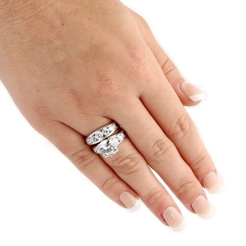 Palm Beach Jewelry Sterling Silver Cubic Zirconia Wedding Ring Set