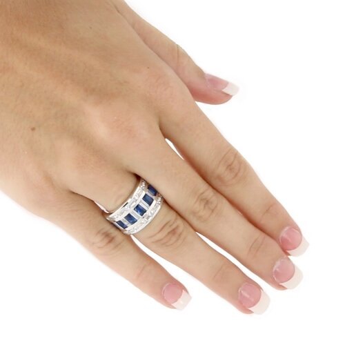Palm Beach Jewelry Silvertone Cubic Zirconia and Blue Glass Ring