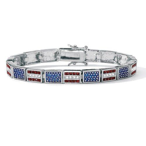 Palm Beach Jewelry  Silvertone Patriotic Flag Bracelet