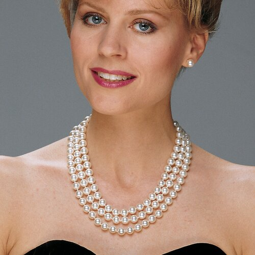Palm Beach Jewelry 14k Gold-Pated Cultured Pearls Simulated Necklace and Pierced Earring Set