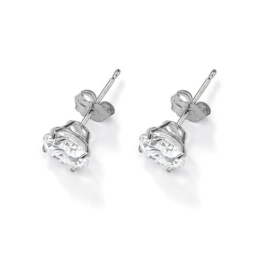 Palm Beach Jewelry 10k White Gold Cubic Zirconia Pierced Earrings