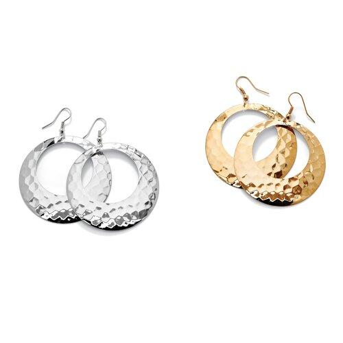 Palm Beach Jewelry Goldtone 2 Pairs of Hoop Earrings