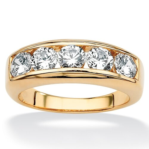 18k Gold/Silver Men's Cubic Zirconia Ring