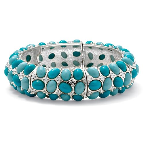 Palm Beach Jewelry Silvertone Simulated Turquoise Bracelet