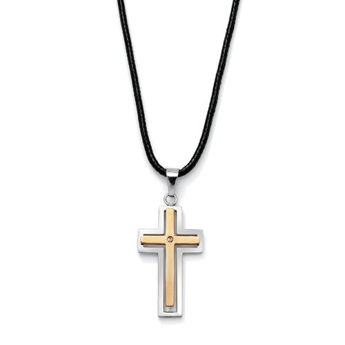 Palm Beach Jewelry Stainless Steel Cubic Zirconia Cross Pendant
