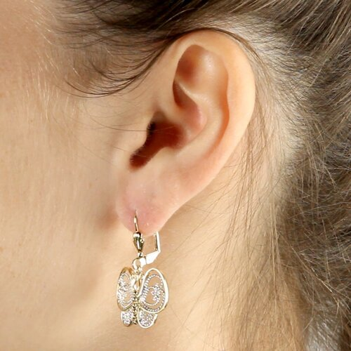 Palm Beach Jewelry Gold Plated Filigree Butterfly Pierced Earrings