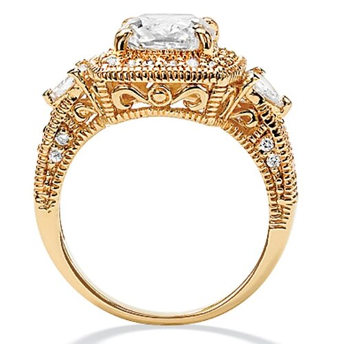Palm Beach Jewelry 18k Gold/Silver Sterling Silver Cubic Zirconia Ring