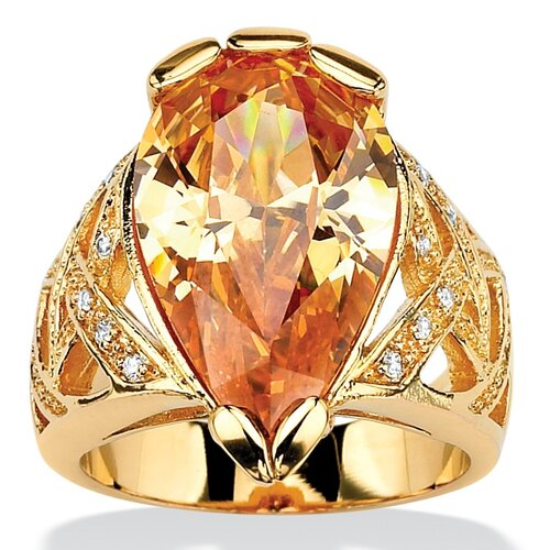 Palm Beach Jewelry Gold Plated Champagne/White Cubic Zirconia Ring