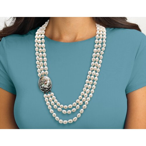 Silvertone Cultured Freshwater Pearl and Black Mother-of-Pearl Necklace