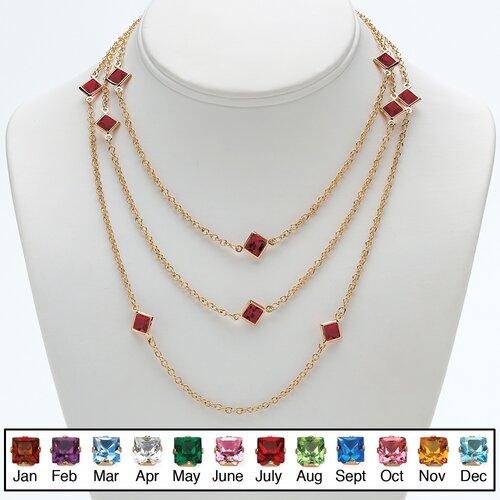 Goldtone Princess Cut Birthstone Necklace