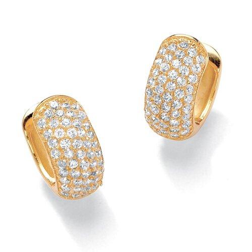18k Gold/Silver Cubic Zirconia Huggie-Hoop Pierced Earrings
