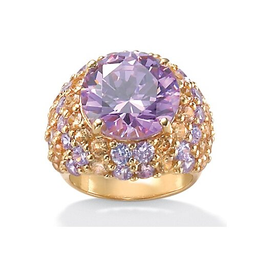 14k Gold Plated Lavender and Champagne Cubic Zirconia Ring
