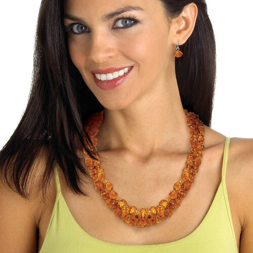 Palm Beach Jewelry Silvertone Amber-Colored Crystal Jewelry Set