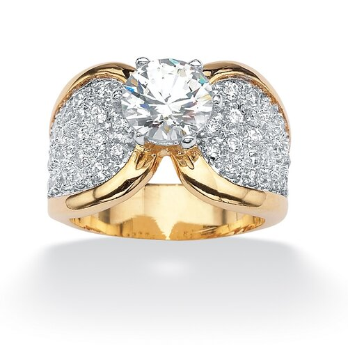 Palm Beach Jewelry 14k Gold Plated Two Tone Round Cubic Zirconia Pave Ring